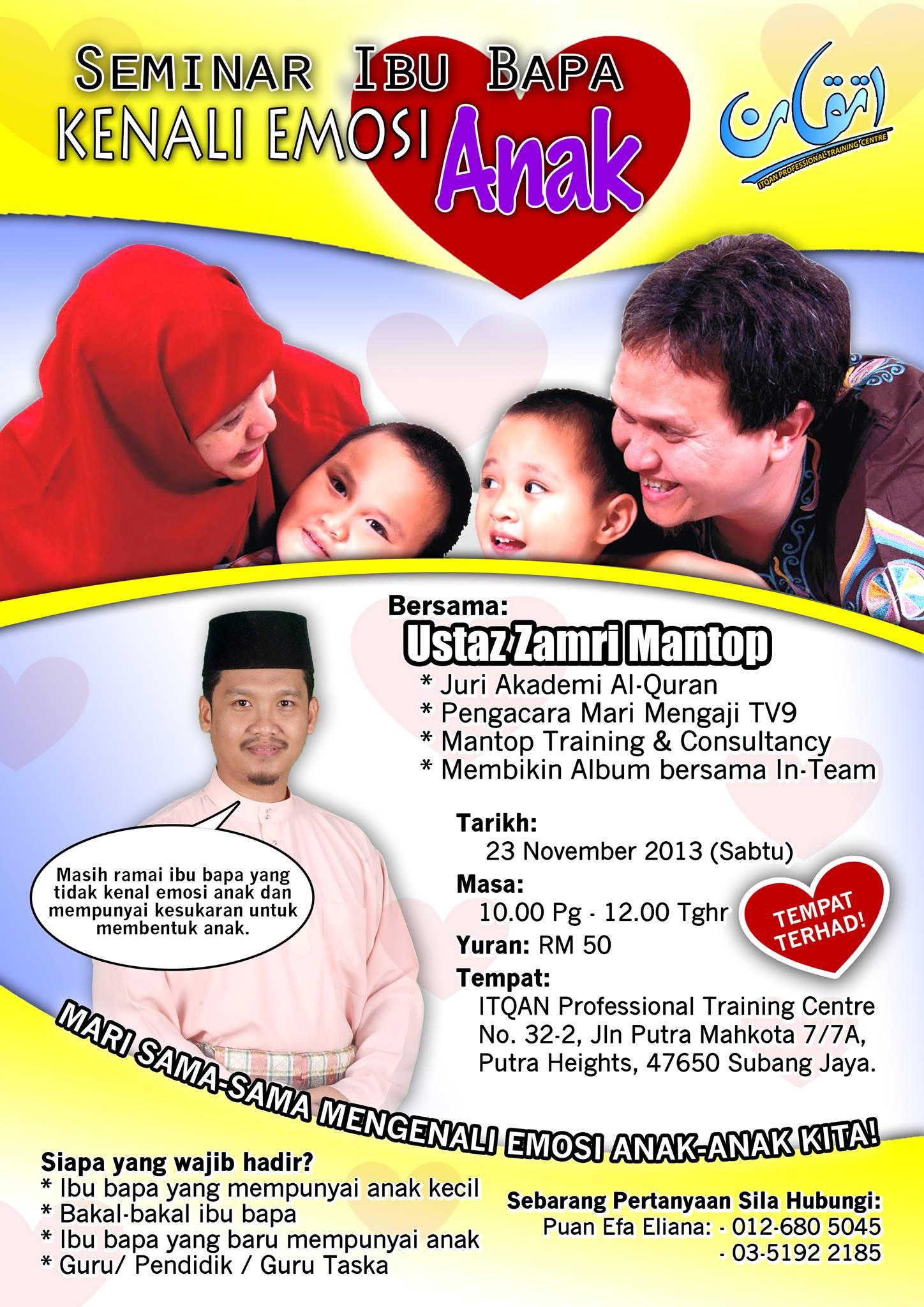 Seminar Ibu-bapa: Kenali emosi Anak